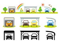 カーポートと車(カラーとシルエット)