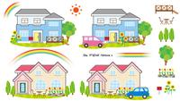 一軒家の風景(太陽と虹)