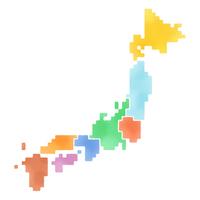地域区分別日本ドット地図(ラフ水彩風着色)