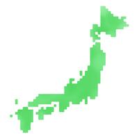 日本ドット地図(ラフ水彩風着色)