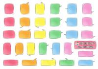 角丸長方形のふきだしセット(バラエティーバージョン)手書風線画水彩風着色