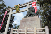 京都 北野天満宮 梅の絵のある狛犬