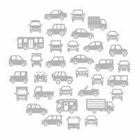 色々な車のサークル状アイコンギャラリー(グレーシルエット)