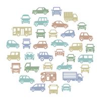 色々な車のサークル状アイコンギャラリー(モダンカラーシルエット)