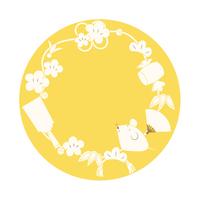 ねずみと縁起物の年賀イラスト(黄色バージョ