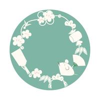 ねずみと縁起物の年賀イラスト(緑色バージョ