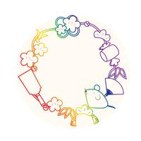 ねずみと縁起物の年賀イラスト(虹色バージョ