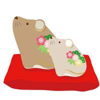 茶色のネズミの置物のイラスト