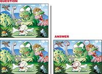 間違い探しイラスト、犬と恐竜