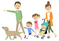 ファミリー 二世代家族 散歩