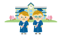 学校と男女の学生