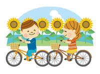 サイクリングする男女