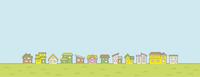 春の田舎の風景のイラスト(家の並びと空と草原)横に長い書式用