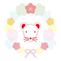 水引のネズミと梅の花のフレームイラスト