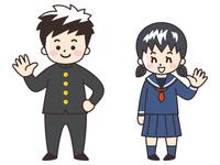 中高生の男女(学ランとセーラー服)