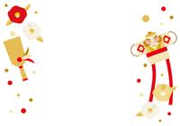 羽子板と奴凧と椿のフレームイラスト(赤 金 白)