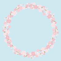 桜のサークルフレーム(水色の背景)