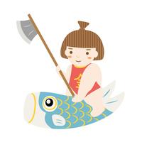 鯉のぼりに乗る金太郎