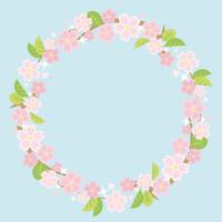 葉桜のサークルフレーム(水色の背景)
