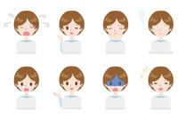 PCを使用している女性の表情のイラスト