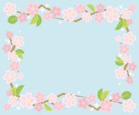 葉桜のコーナーフレーム(水色の背景)