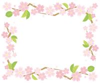 葉桜のサークルフレーム(白背景)
