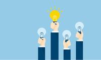 ビジネスマンとアイデアのイラストイメージ