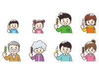 串団子を食べる人々