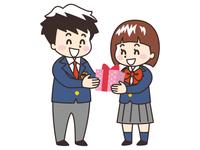 プレゼントを渡す中高生の男女