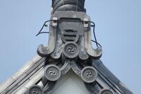 春の館山城のシャチホコの風景