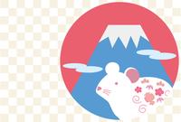 白いネズミと富士山の年賀状用イラスト(市松