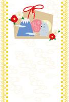 椿の花とネズミの絵馬の年賀状