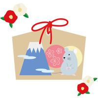 年賀状イラストセット 椿 ねずみと富士山の