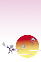 ネズミと凧の年賀状