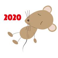 西暦と睡眠中のネズミのイラスト