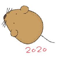 西暦と可愛いネズミのイラスト