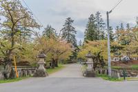 春の米沢城の風景