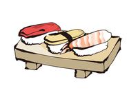 寿司一皿(マグロ、卵、海老)