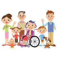 三世代家族と車椅子のおばあちゃん