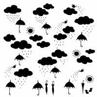 可愛い雲と傘イラスト,