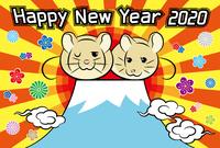 年賀状(富士山と初日の出) Happy New Year 2002 賀詞とねずみと梅と菊