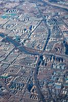飛行機から見える中国の街並み