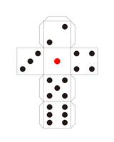 サイコロのペーパークラフト 展開図イラスト