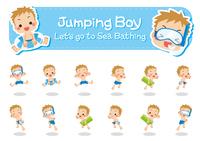 水着でジャンプする男の子セット色々なポーズ