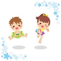 水着でジャンプする男の子と女の子セット