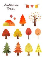 秋の水彩樹木セット1