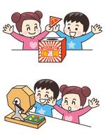 くじ引き抽選会の子供