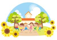 幼稚園の前でジャンプするキッズ