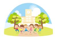 学校の前でジャンプするキッズ