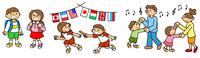人物 学校生活 通学 運動会 社交ダンス リレー イラスト